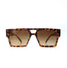 vintage 1990's NOS square sunglasses cheetah print animal plastic tortoise shell frames mens womens brown lenses sun glasses eyewear modern by RecycleBuyVintage on Etsy