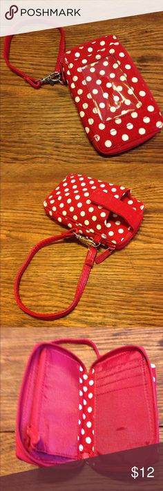 """Thirty-One wristlet Thirty-One wristlet, can fit a phone, red and white polka dot, 3"""" across, 5.5"""" high, 1"""" wide, ID slot zippers around, card slits inside, zipper coin pocket inside Thirty-One Bags Clutches & Wristlets"""
