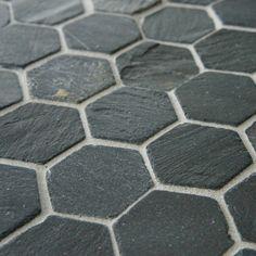 "Peak 1.5"" x 1.63"" Natural Stone Mosaic Tile in Black"