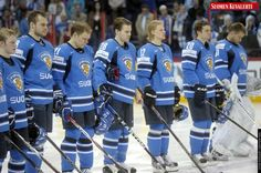 Finnish players observe a minute of silence in memory of legendary Finnish defenceman Pekka Marjamäki who died of a heart attack, at the beginning of the Group H game France vs Finland in the 2012 IIHF Ice Hockey World Championships in Helsinki, Finland, on May 10, 2012. Marjamäki represented Finland in ten World Championships and twice in the Olympics, and wore the blue and white national team sweater 251 times. He was voted into the World Championship 1975 All-Star Team and named the…