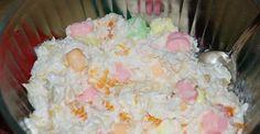 Marshmallow Salad With Light Sour Cream, Mandarin Orange, Pineapple, Miniature Marshmallow, Shredded Coconut Jello Recipes, Fruit Salad Recipes, Dessert Recipes, Fruit Salads, Fruit Whip, Jello With Fruit, Recipes Using Marshmallows, Mini Marshmallows, Marshmallow Salad