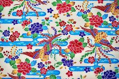 Japanese Cotton, Japanese Kimono, Vintage Japanese, Kimono Fabric, Okinawa, Tone It Up, Cool Fabric, Vintage Fabrics, Printed Cotton