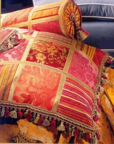Silk patchwork cushion