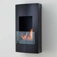 """Eco-Feu Hollywood - 19"""" UL Listed Wall Mounted/Built-in Ethanol Fireplace (WU-00146-MB, WU-00070-BS)"""