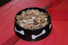 puppy chow in dog bowl - for Barney the scottie dog's birthday party!