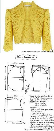 Кружевной пиджак Sewing Pattern/ lace Jacket or bolero. Cute over jeans or a dress! Bolero Pattern, Jacket Pattern, Pattern Skirt, Blazer Pattern, Jumpsuit Pattern, Dress Sewing Patterns, Clothing Patterns, Pattern Sewing, Pencil Skirt Patterns
