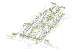 Sheltered housing / cohousing development of clustered bungalows. Denaby Main Strategy, Doncaster 2008. Cottrell & Vermeulen Architects.
