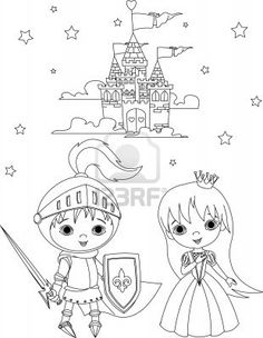 High resolution royalty free vector graphic of a knight and princess kids beside a castle - coloring page. This fairy tale stock vector image was designed and digitally rendered by Pushkin. Princess And The Pea, Prince And Princess, Free Coloring, Colouring Pages, Castle Crafts, Knight Party, Prince Charmant, Princess Coloring Pages, Princess Castle