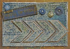 Birthday Card by Tracey Sabella: Bo Bunny, Donna Salazar ~ Distrezz-It-All by Zutter, Hand Stitching, Distressing, Buttons, Chipboard, Stickers, Weekend Market, Birthday, Masculine