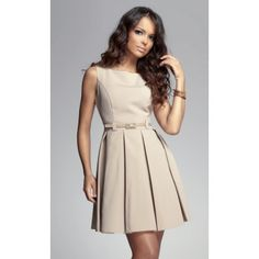 Look at this FIGL Beige Belted Fit & Flare Dress on today! Women Business Attire, Belted Dress, Dress Skirt, Dress Up, Nude Dress, Dress Clothes, Pleated Skirt, Professional Attire, Business Professional