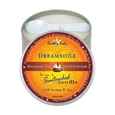 EB Massage Candle Dreamsicle 6.8oz Earthly Body Suntouched Candle with Hemp (6oz Dreamsicle)This hand poured, fragrant, natural soy oil Massage Candle burns long   clean. It melts into ...