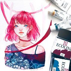 Watercolor Girl, Watercolor Drawing, Watercolor Paintings, Ink Illustrations, Illustration Girl, Watercolor Illustration, Art Sketches, Art Drawings, Girls Tumbler