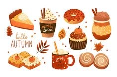 Collection of pumpkin spice seasonal flavored products, food and drinks isolated on white background. Bundle of autumn delicious sweet desserts or pastry. Pumpkin Spice Muffins, Pumpkin Spice Coffee, Spiced Coffee, Cake Illustration, Food Illustrations, Cake Vector, Fall Birthday Parties, Spice Cake Mix, Food Drawing