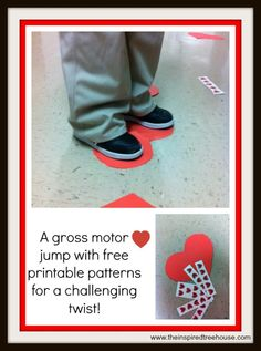 gross motor game with a Valentine theme and free printable from The Inspired Treehouse Valentine Theme, Valentines Day Party, Valentine Day Crafts, Valentine Heart, Valentine Ideas, Indoor Games For Kids, Yoga For Kids, Preschool Age, Preschool Activities
