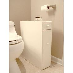 Space Saving Bathroom Floor Cabinet in White Wood Finish-Bathroom > Bathroom Cabinets-Loluxe
