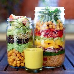 WEBSTA @ letscookvegan - Salad jars 🍃🍶💛 by @brusselsveganBig jar (layer by layer from the bottom): quinoa with oriental spice mix, vegan wild garlic (ramson) pesto, radicchio, yellow bell pepper, celery, red bell pepper, turmeric spiced chick peas (rinse and drain a jar of chick peas and cook them in a pan with 1tsp coconut oil, 1tsp ground turmeric