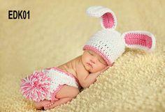 60 set di spedizione gratuita uncinetto fatto a mano neonato bunny cappello e pannolini oggetti di scena foto di copertina, adorabile coniglietto set