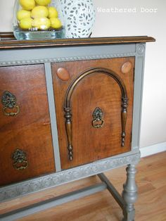 The Weathered Door: Grey and Wood Buffet