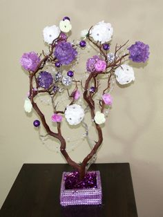 22-28 Inches Purple Manzanita Tree Wedding Centerpiece  This 22-28 Inches Purple Manzanita Tree Wedding Centerpiece will look great as a centerpiece for your wedding reception, anniversary, Quinceanera, baby shower, or other occasion table.  Please choose your flower color at the time of purchase from the options available. Please email me if you want customs colors, I have many color options available. You can purchase the centerpiece with the following options:  FINISH 1 = 20$ NATURAL…