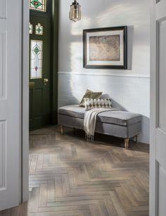 Wood effect floor tiles allow underfloor heating...