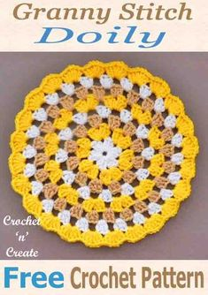 Pretty granny doily, free crochet pattern, crochet for tables and sideboards around your home. home diy crafts Crochet Granny Doily Free Crochet Pattern - Crochet 'n' Create Crochet Circle Pattern, Granny Square Pattern Free, Free Crochet Doily Patterns, Crochet Coaster Pattern, Crochet Motifs, Crochet Circles, Crochet Squares, Crochet Granny, Granny Squares