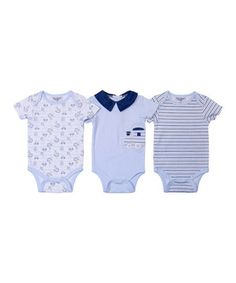 This Blue Choo-Choo Train Bodysuit Set by Kyle & Deena is perfect! #zulilyfinds