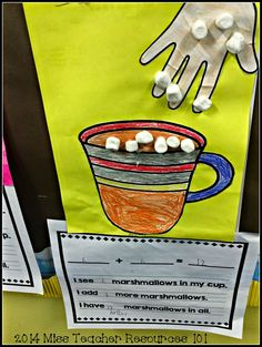 At my school, we periodically have to change bulletin boards to reflect current and updated student work. Kindergarten Bulletin Boards, Kindergarten Crafts, Preschool Math, Math Classroom, Fun Math, Teaching Math, Math Activities, Kindergarten Christmas, Maths