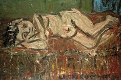 """Leon Kossoff,  Nude on a Red Bed 1972 Oil on board 122 x 183 cm    48 x 72"""""""