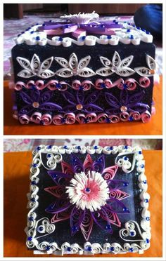 Quilled flowers n patterns decorated gift box