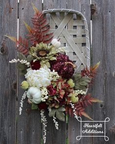 Fall Tobacco Basket Fall Wreaths for Front Door Fall Door Hanger Tobacco Basket Fall Wall Decor Harvest Wreath Fall Decor Home Decor Baskets, Basket Decoration, Diy Fall Wreath, Autumn Wreaths, Wreath Ideas, Tobacco Basket Decor, Fall Door Hangers, Wreaths For Front Door, Door Wreaths