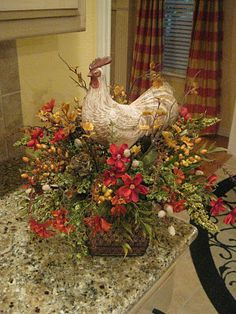 Rooster Flower Arrangement  I need this in my kitchen! Matches perfectly, even the curtains look almost like mine!