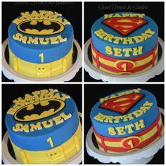Super Hero Cake  - twin boys celebrating their 1st birthday... Superhero cake for each of them.