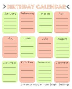 Excel template for birthday calendar in color (landscape ...