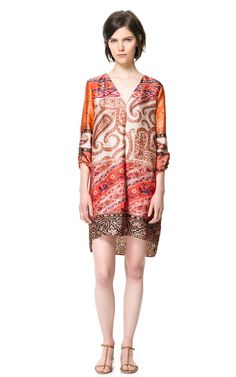 PRINTED TUNIC DRESS - Dresses - Woman | ZARA - saw something similar on a girl and she looked amazing but i am a tad dubious about this one? looks really sheer? hmmm but i like the paisley print