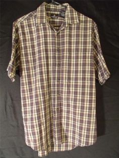 Mens M Medium Dress Shirt Button Up Blue Beige Red Striped Plaid Short Sleeve