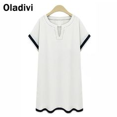 Find More Dresses Information about 5XL Plus Size Summer Style 2015 New Fashion Women Casual Loose Short Mini Dresses Lady Cotton Linen Dress Short Sleve White Blue,High Quality women dress 2013,China women coat Suppliers, Cheap dresses fashion from Oladivi Group - Minabell Fashion Store on Aliexpress.com