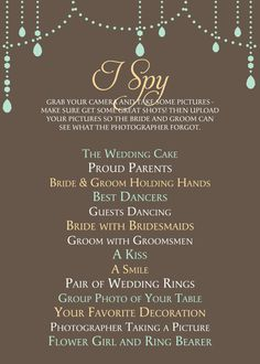 I like this version of the wedding I Spy game for the tables. | {I ...