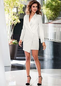 """Venus.com  Off White (CDWH) Single Button Coat Dress $54  Maintain your classical sensibilities in this updated coat dress. ·  Sizes: 2 - 14   ·  34"""" in length from natural waist at shortest point   ·  Front pockets   ·  Button closure on overlap and hidden interior button   ·  Poly/Viscose/elastane. Imported  · Style #Z49514"""