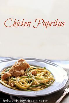 Chicken Paprikas is a flavorful, creamy comfort food! Serve over noodles of choice, including zucchini noodles for a lovely grain-free version. It's also dairy free! -- The Nourishing Gourmet Primal Recipes, Meat Recipes, Real Food Recipes, Healthy Recipes, Chicken Recipes, Yummy Recipes, Recipies, Dinner Recipes, Chicken Paprikash