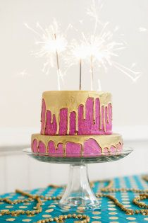 I love everything about this. pink, sparkles, gold, cake. YES. - Style Me Pretty | Gallery -