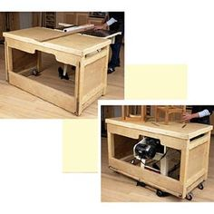 "Space-Saving Double-Duty Tablesaw Workbench Woodworking Plan - Product Code DP-00553 | Attention, small-shop and garage woodworkers: Here's a project designed with you in mind. It's a combination workbench and outfeed table. Plus, for the space-starved shop, it stores in the same footprint as your tablesaw. Overall dimensions: 61"" wide, 32"" deep, 39"" high. #workbench"