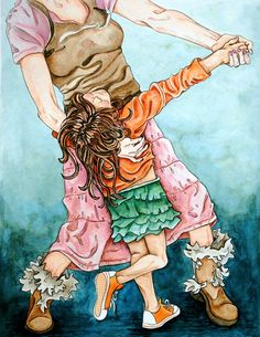 Watercolor Art Print. Dancing Mother, Child, via Etsy. // I LOVE this. Shaun might not go for it though