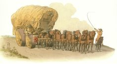 Long Wagon - cheapest form of paid transport, often slower than walking, but a common sight in regency England.