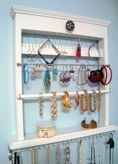 ON SALE - All in One Wall Jewelry Organizer Rack, Holds both Stud and Dangle Earrings, Rings, Bracelets, and Necklaces, White Painted Finish