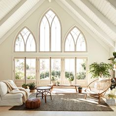 House goals (and plant goals.and window goals. 🌿 Our Ravine rug is incredibly versatile and well-suited to living areas, dining… Dream Home Design, My Dream Home, Home Interior Design, Interior Architecture, Gothic Architecture, Interior Design Inspiration, Decoration Inspiration, Mediterranean Homes, House Goals