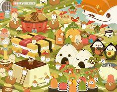 Yummy Rice Town #illustration #art #cute #kawaii