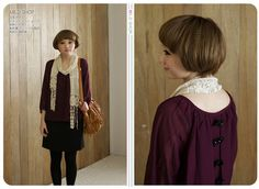 Women Japanese Korean Fashion Style Bowknot Color match Dress One-piece Purple   eBay