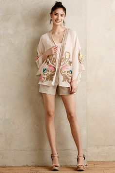 The Aizu Silk Kimono Blouse by Tracy Reese looks great paired with tailored shorts and wedges for a warm-weather evening look.