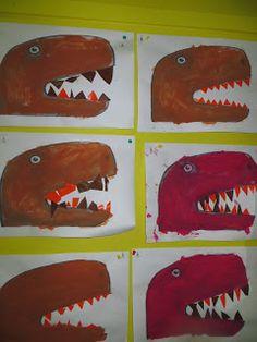 bij de oudste kleuters en juf Sofie Dinosaur Theme Preschool, Make A Dinosaur, Dinosaur Activities, Dinosaur Art, Class Art Projects, Middle School Art Projects, Dinosaur Projects, Dinosaur Crafts, Art For Kids