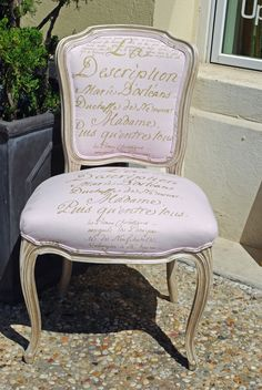 19th French Side Chair with Carolyn Quartermaine Irish Linen Script